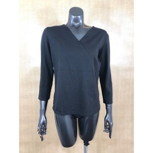 J.Jill Size Small Black V Neck Crossover Tee Shirt